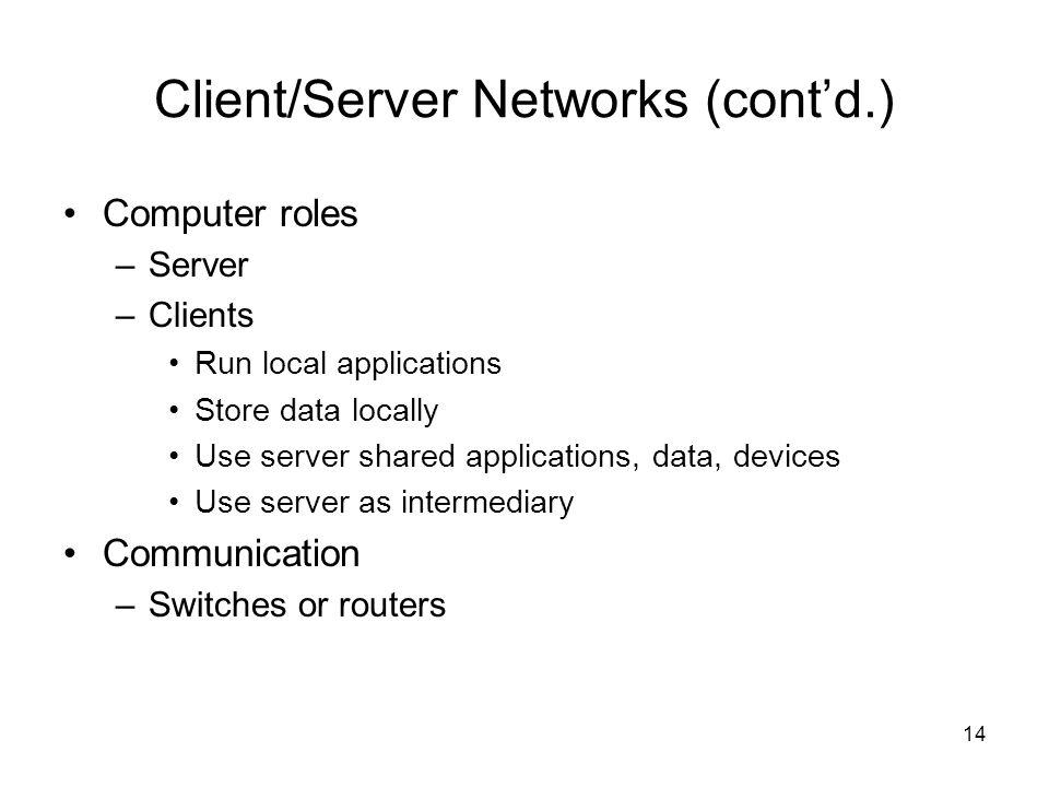 14 Client/Server Networks (cont'd.) Computer roles –Server –Clients Run local applications Store data locally Use server shared applications, data, de