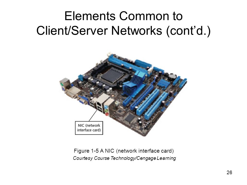 26 Elements Common to Client/Server Networks (cont'd.) Figure 1-5 A NIC (network interface card) Courtesy Course Technology/Cengage Learning