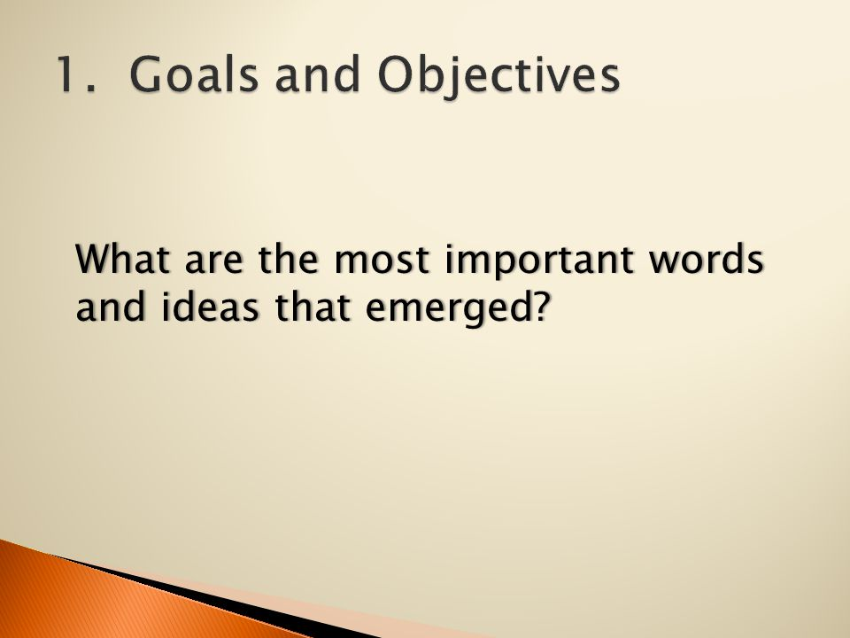What are the most important words and ideas that emerged?