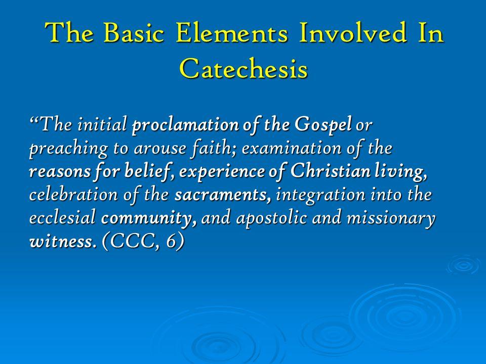 The Church's catechetical mission in the ministry of every catechist can be summarized in this way:  A catechist extends the Church's efforts to make disciples of Jesus Christ by giving growth to the seed of faith begun at baptism.