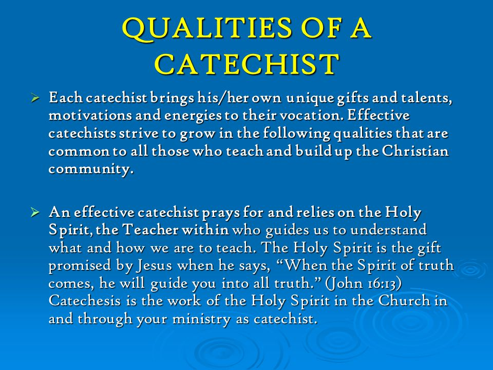 The Vocation of a Catechist 4.