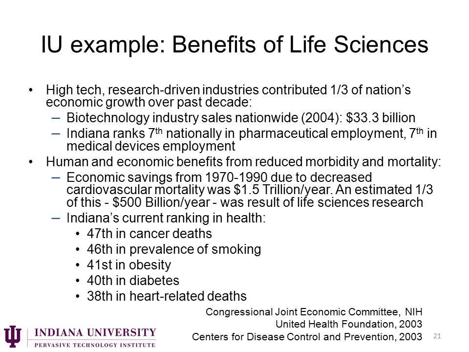 IU example: Benefits of Life Sciences High tech, research-driven industries contributed 1/3 of nation's economic growth over past decade: – Biotechnology industry sales nationwide (2004): $33.3 billion – Indiana ranks 7 th nationally in pharmaceutical employment, 7 th in medical devices employment Human and economic benefits from reduced morbidity and mortality: – Economic savings from 1970-1990 due to decreased cardiovascular mortality was $1.5 Trillion/year.