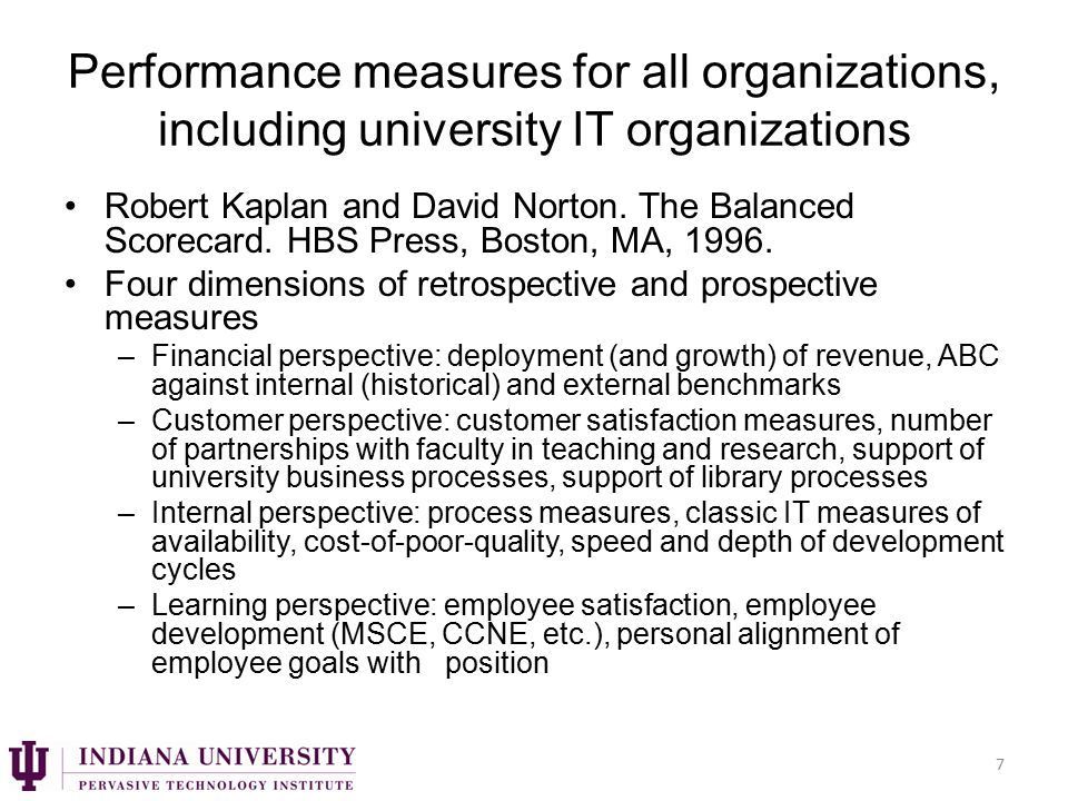 Performance measures for all organizations, including university IT organizations Robert Kaplan and David Norton.