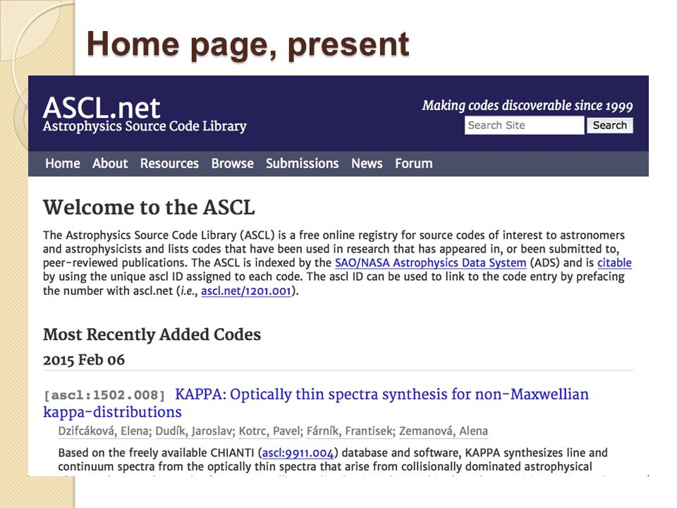 Home page, present