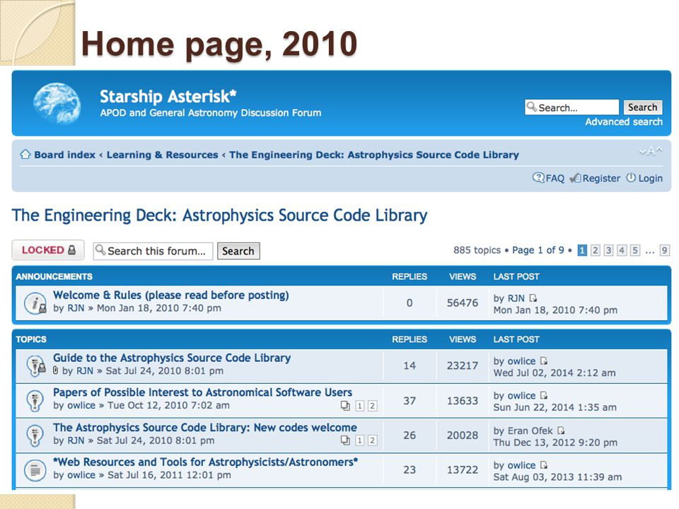 Home page, 2010