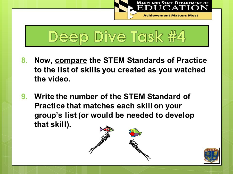 8.Now, compare the STEM Standards of Practice to the list of skills you created as you watched the video.