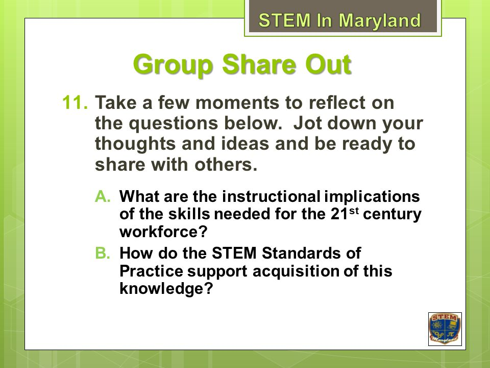 Group Share Out 11.Take a few moments to reflect on the questions below.