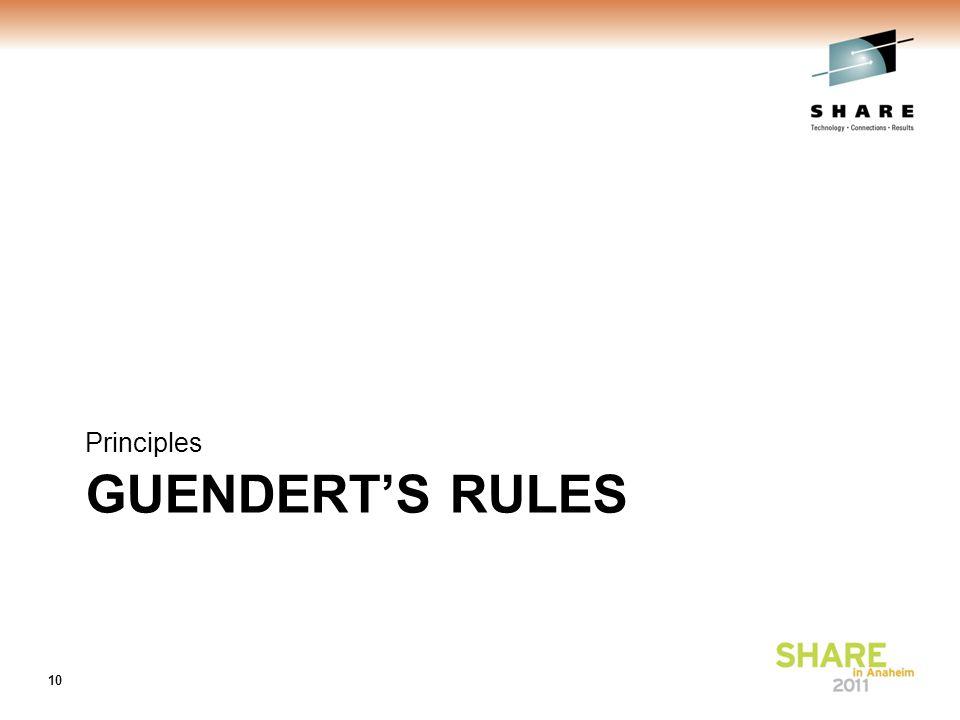 GUENDERT'S RULES Principles 10