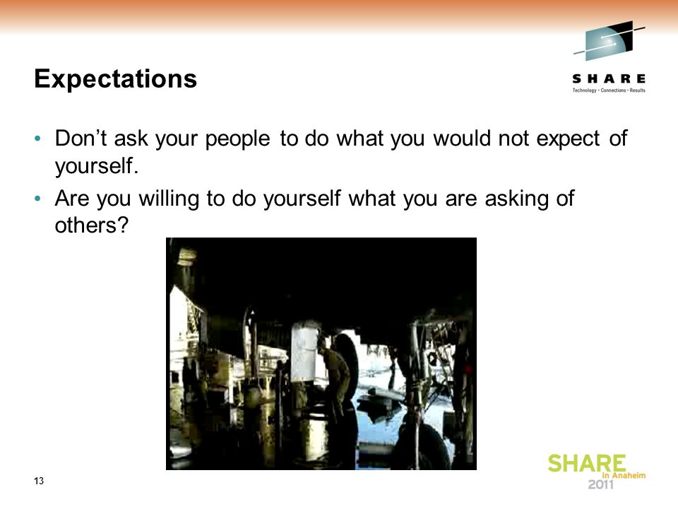 Expectations Don't ask your people to do what you would not expect of yourself.