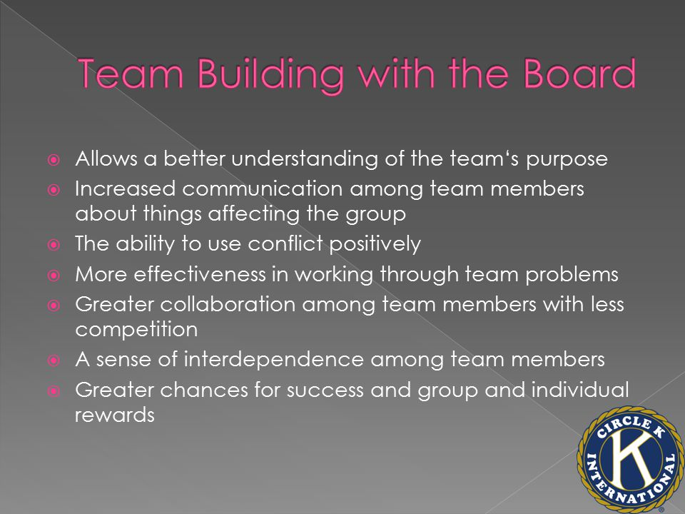  Allows a better understanding of the team's purpose  Increased communication among team members about things affecting the group  The ability to use conflict positively  More effectiveness in working through team problems  Greater collaboration among team members with less competition  A sense of interdependence among team members  Greater chances for success and group and individual rewards
