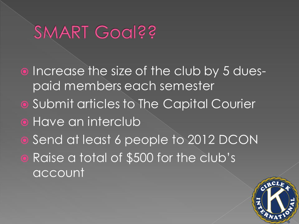  Increase the size of the club by 5 dues- paid members each semester  Submit articles to The Capital Courier  Have an interclub  Send at least 6 people to 2012 DCON  Raise a total of $500 for the club's account