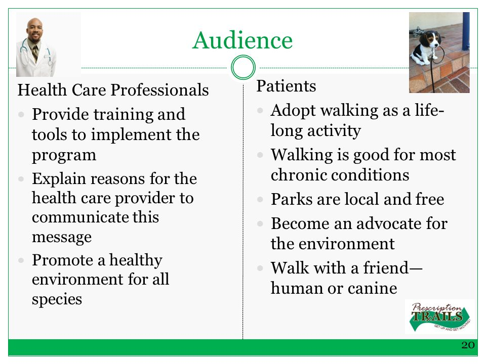 Audience Health Care Professionals Provide training and tools to implement the program Explain reasons for the health care provider to communicate this message Promote a healthy environment for all species Patients Adopt walking as a life- long activity Walking is good for most chronic conditions Parks are local and free Become an advocate for the environment Walk with a friend— human or canine 20