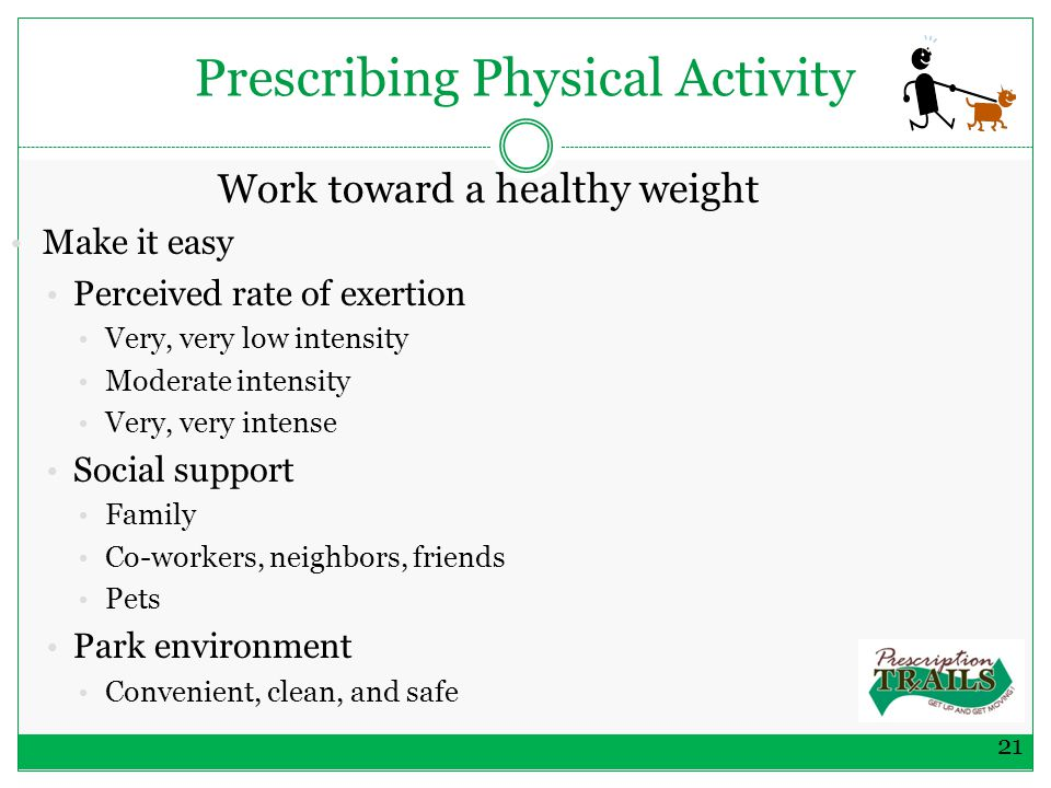 Prescribing Physical Activity Work toward a healthy weight Make it easy Perceived rate of exertion Very, very low intensity Moderate intensity Very, very intense Social support Family Co-workers, neighbors, friends Pets Park environment Convenient, clean, and safe 21