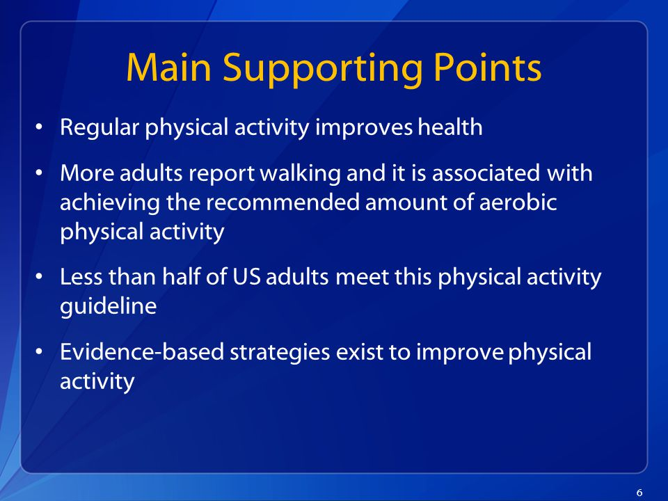 6 Main Supporting Points Regular physical activity improves health More adults report walking and it is associated with achieving the recommended amount of aerobic physical activity Less than half of US adults meet this physical activity guideline Evidence-based strategies exist to improve physical activity