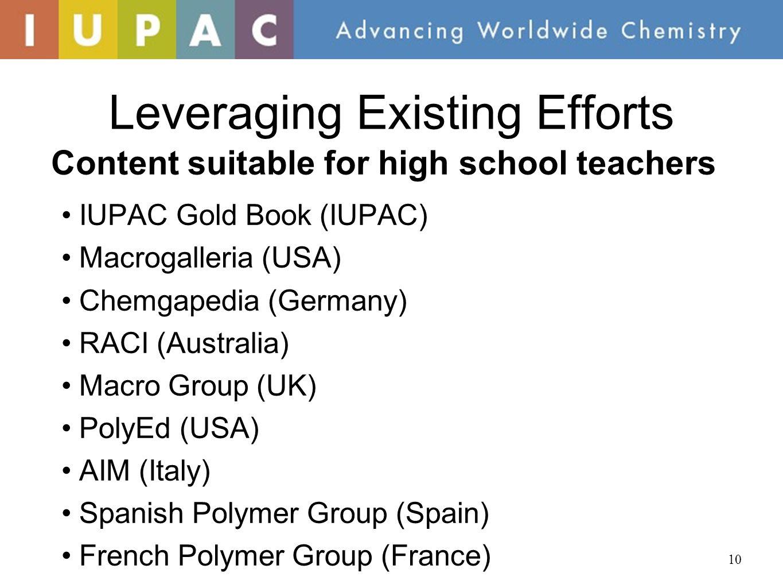 Leveraging Existing Efforts IUPAC Gold Book (IUPAC) Macrogalleria (USA) Chemgapedia (Germany) RACI (Australia) Macro Group (UK) PolyEd (USA) AIM (Italy) Spanish Polymer Group (Spain) French Polymer Group (France) 10 Content suitable for high school teachers