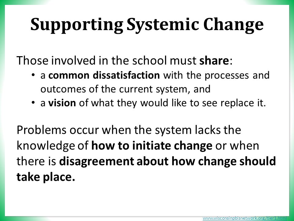 www.wisconsinpbisnetwork.org/tier1.html Supporting Systemic Change Those involved in the school must share: a common dissatisfaction with the processes and outcomes of the current system, and a vision of what they would like to see replace it.