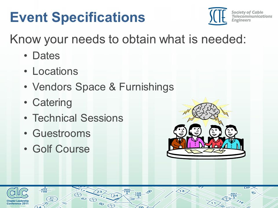 Event Specifications Know your needs to obtain what is needed: Dates Locations Vendors Space & Furnishings Catering Technical Sessions Guestrooms Golf Course