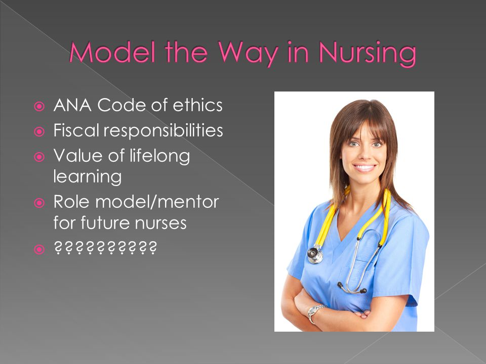  ANA Code of ethics  Fiscal responsibilities  Value of lifelong learning  Role model/mentor for future nurses  ??????????