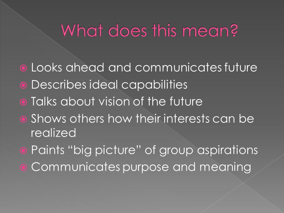  Looks ahead and communicates future  Describes ideal capabilities  Talks about vision of the future  Shows others how their interests can be realized  Paints big picture of group aspirations  Communicates purpose and meaning