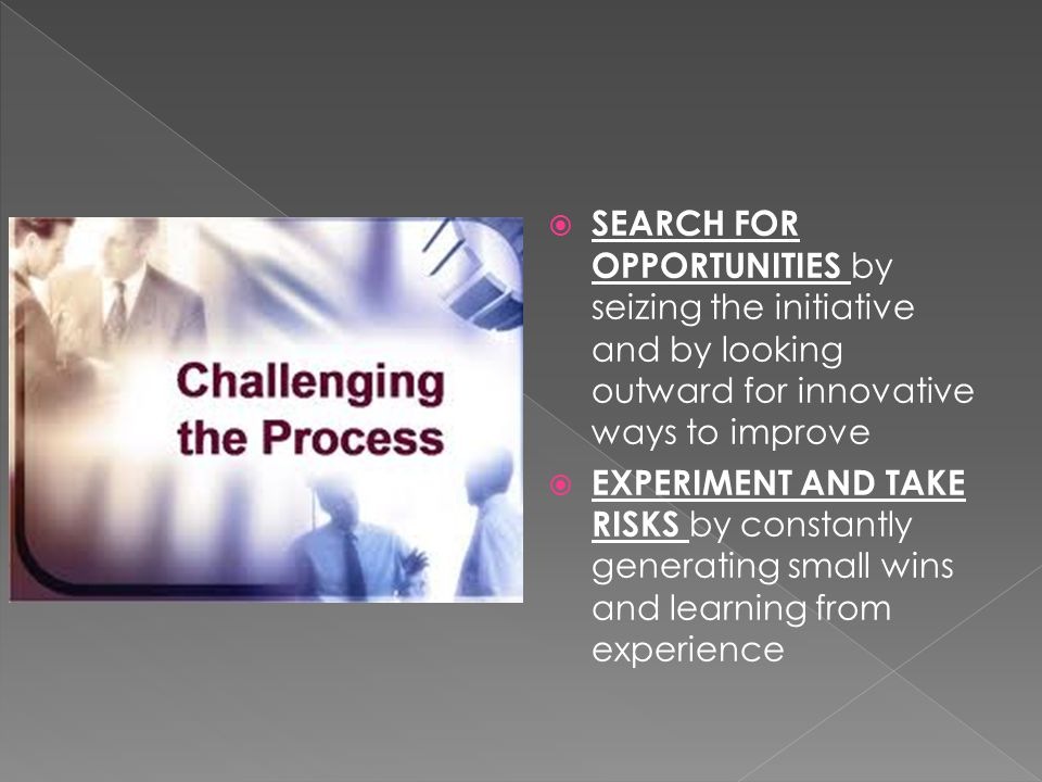  SEARCH FOR OPPORTUNITIES by seizing the initiative and by looking outward for innovative ways to improve  EXPERIMENT AND TAKE RISKS by constantly generating small wins and learning from experience