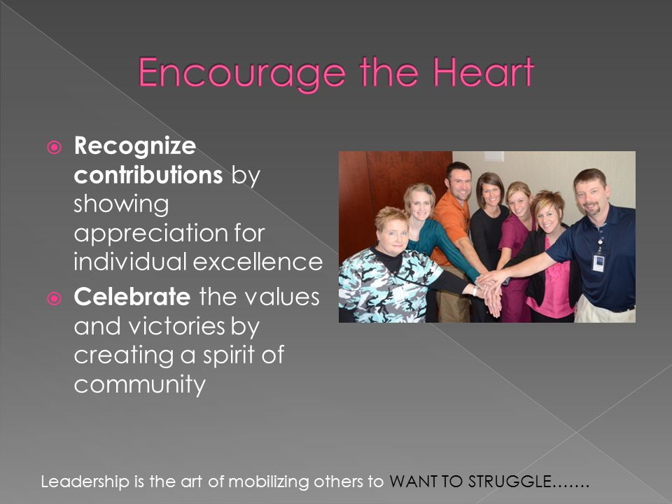  Recognize contributions by showing appreciation for individual excellence  Celebrate the values and victories by creating a spirit of community Leadership is the art of mobilizing others to WANT TO STRUGGLE…….