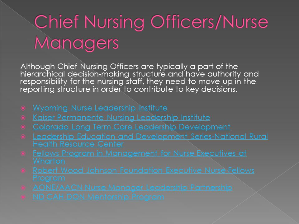 Although Chief Nursing Officers are typically a part of the hierarchical decision-making structure and have authority and responsibility for the nursing staff, they need to move up in the reporting structure in order to contribute to key decisions.