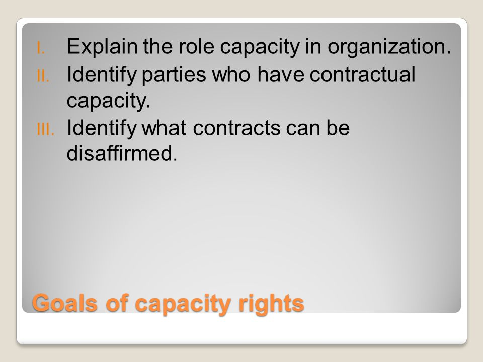 Goals of capacity rights I. Explain the role capacity in organization.