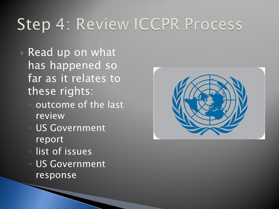  Read up on what has happened so far as it relates to these rights: ◦ outcome of the last review ◦ US Government report ◦ list of issues ◦ US Government response