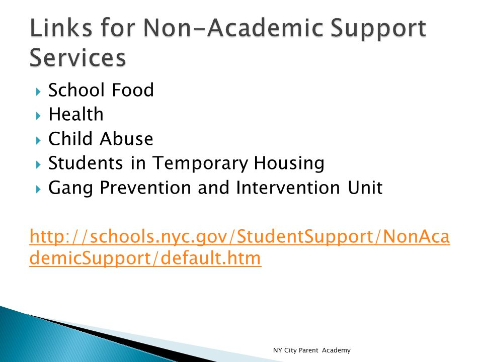 School Food  Health  Child Abuse  Students in Temporary Housing  Gang Prevention and Intervention Unit http://schools.nyc.gov/StudentSupport/NonAca demicSupport/default.htm NY City Parent Academy