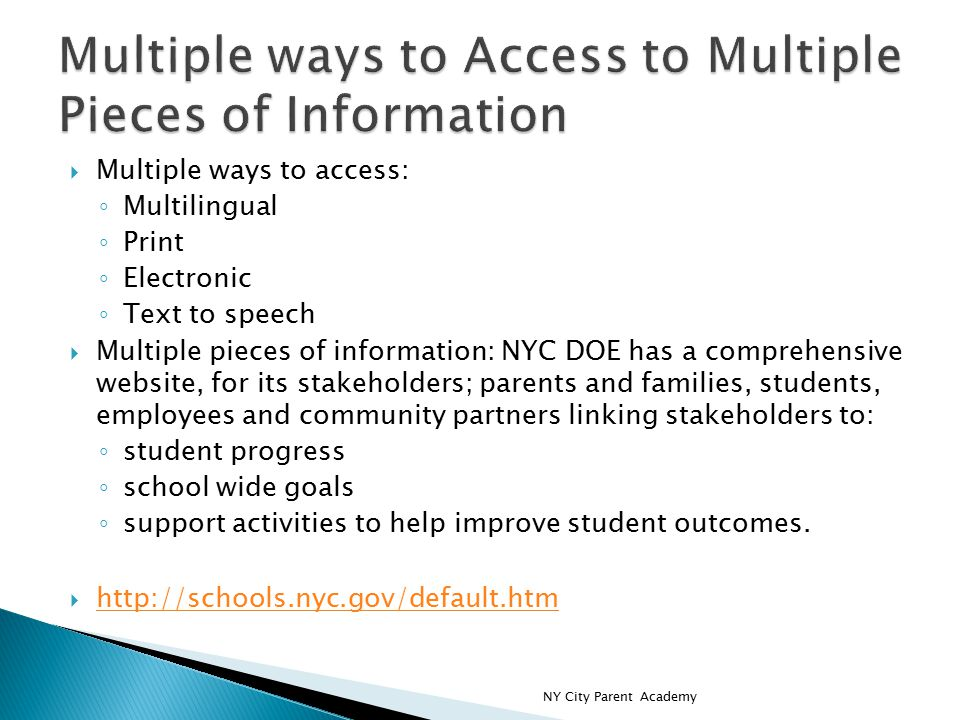  Multiple ways to access: ◦ Multilingual ◦ Print ◦ Electronic ◦ Text to speech  Multiple pieces of information: NYC DOE has a comprehensive website, for its stakeholders; parents and families, students, employees and community partners linking stakeholders to: ◦ student progress ◦ school wide goals ◦ support activities to help improve student outcomes.