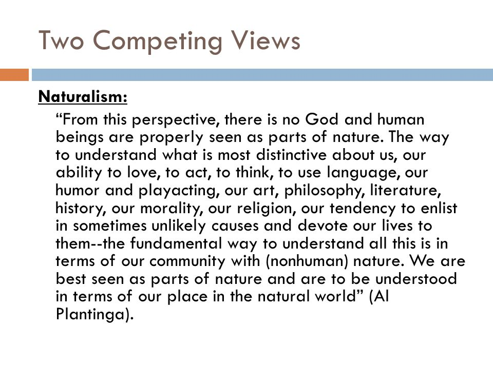Two Competing Views Naturalism: From this perspective, there is no God and human beings are properly seen as parts of nature.