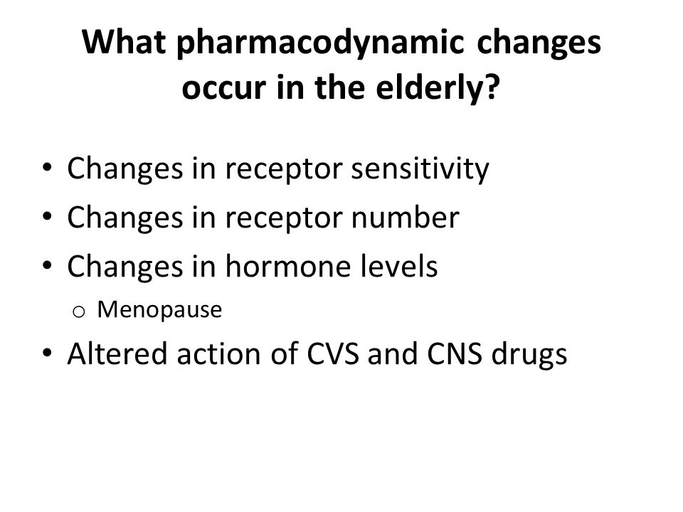 What pharmacodynamic changes occur in the elderly.