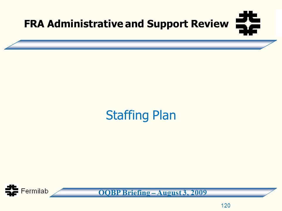 OQBP Briefing – August 3, 2009 FRA Administrative and Support Review Staffing Plan 120