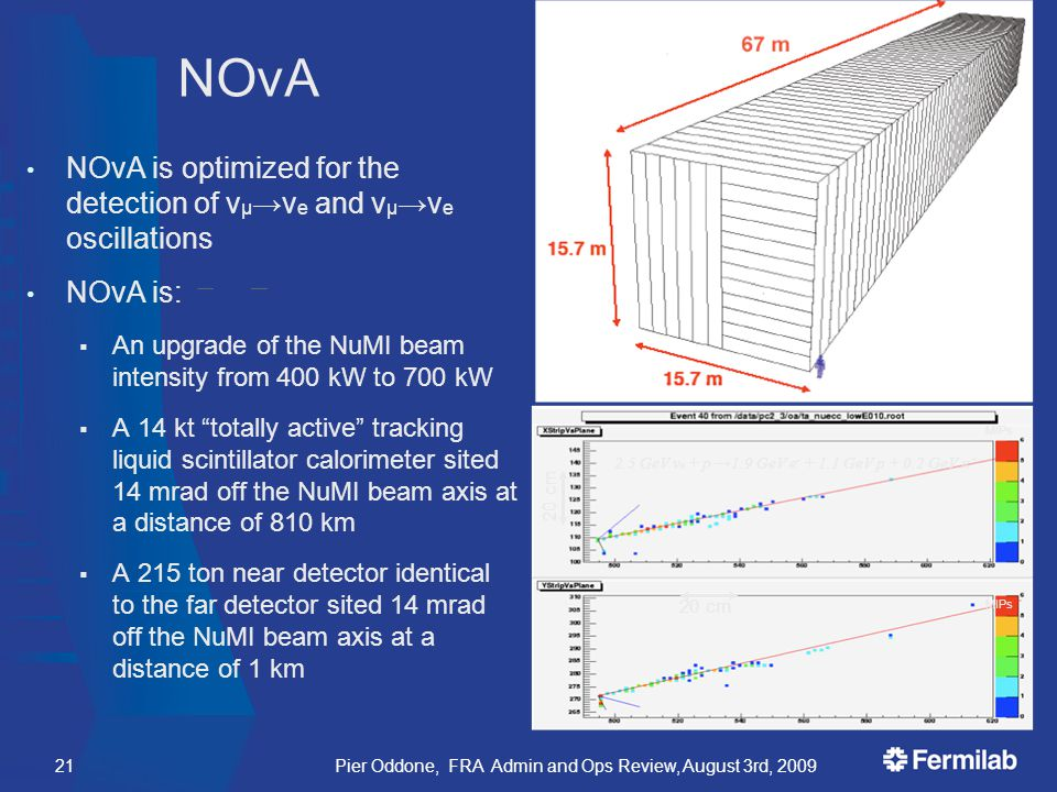 NOvA is optimized for the detection of ν μ →ν e and ν μ →ν e oscillations NOvA is:  An upgrade of the NuMI beam intensity from 400 kW to 700 kW  A 14 kt totally active tracking liquid scintillator calorimeter sited 14 mrad off the NuMI beam axis at a distance of 810 km  A 215 ton near detector identical to the far detector sited 14 mrad off the NuMI beam axis at a distance of 1 km 2.5 GeV ν e + p →1.9 GeV e - + 1.1 GeV p + 0.2 GeV π + 20 cm MIPs NOvA 21Pier Oddone, FRA Admin and Ops Review, August 3rd, 2009