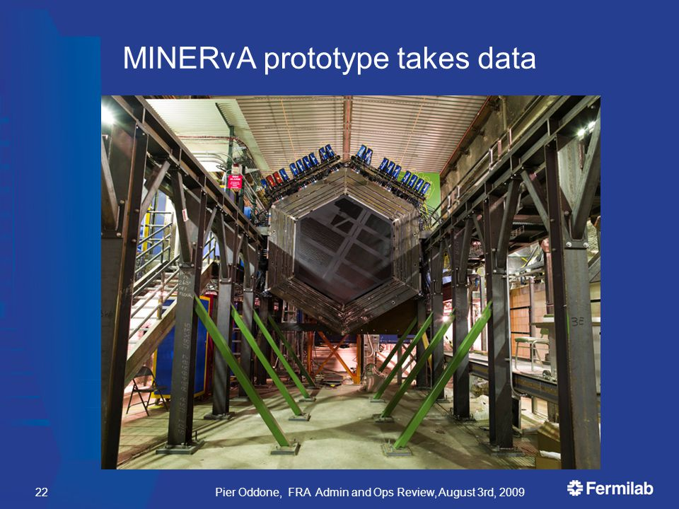 MINERvA prototype takes data Pier Oddone, FRA Admin and Ops Review, August 3rd, 200922