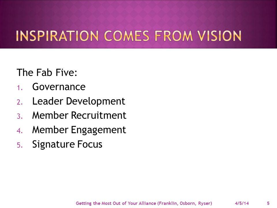 The Fab Five: 1.Governance 2. Leader Development 3.
