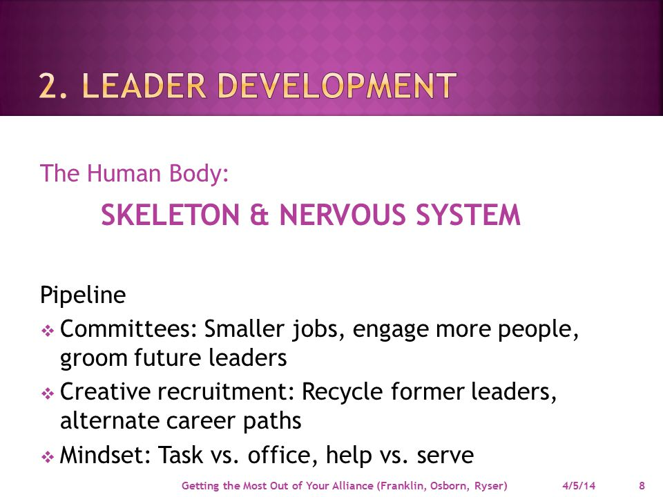 The Human Body: Pipeline  Committees: Smaller jobs, engage more people, groom future leaders  Creative recruitment: Recycle former leaders, alternate career paths  Mindset: Task vs.