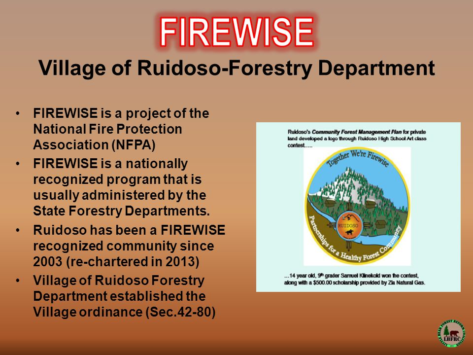 FIREWISE is a project of the National Fire Protection Association (NFPA) FIREWISE is a nationally recognized program that is usually administered by the State Forestry Departments.