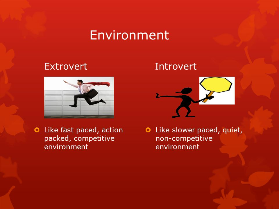 Environment Extrovert  Like fast paced, action packed, competitive environment Introvert  Like slower paced, quiet, non-competitive environment