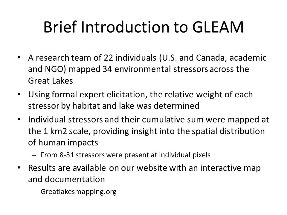 Brief Introduction to GLEAM A research team of 22 individuals (U.S.