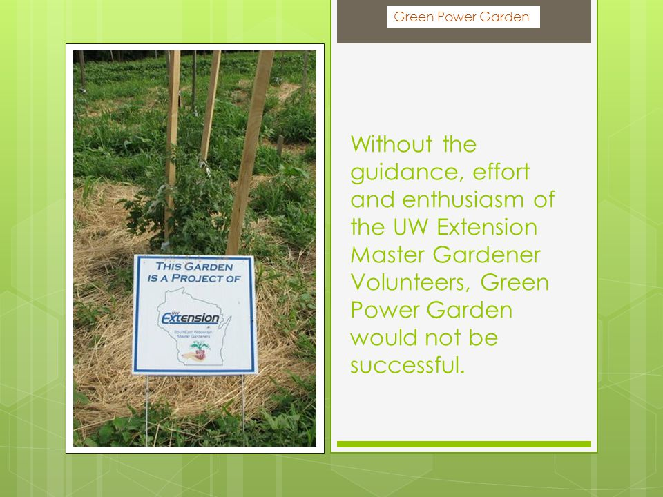 Without the guidance, effort and enthusiasm of the UW Extension Master Gardener Volunteers, Green Power Garden would not be successful.