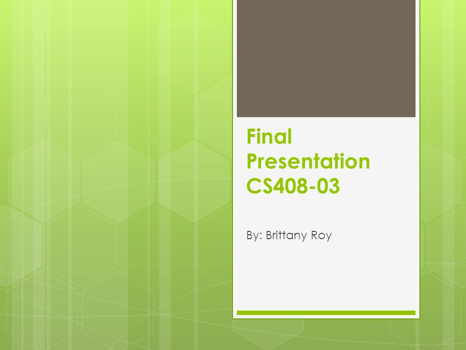 Final Presentation CS408-03 By: Brittany Roy