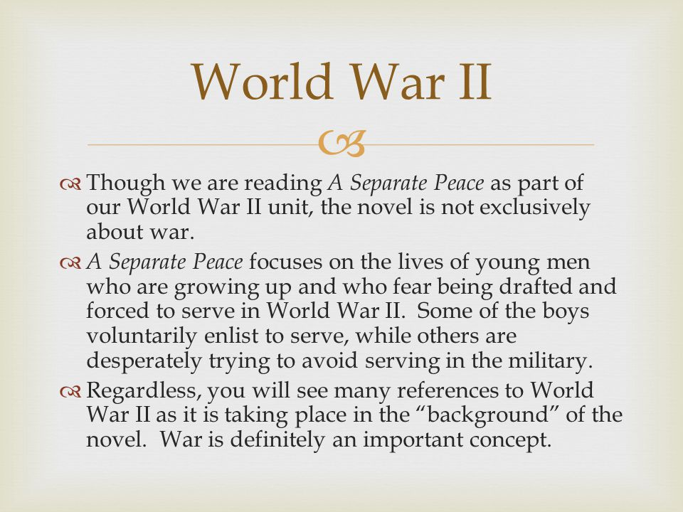   A Separate Peace is primarily a flashback to Gene Forrester's past at the Devon School of New Hampshire, a college preparatory school that is intended to be similar to Phillips Exeter Academy.