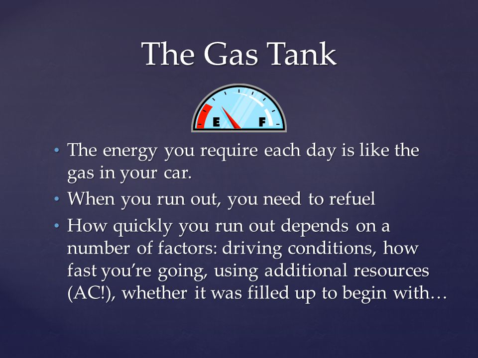 The energy you require each day is like the gas in your car. The energy you require each day is like the gas in your car. When you run out, you need t