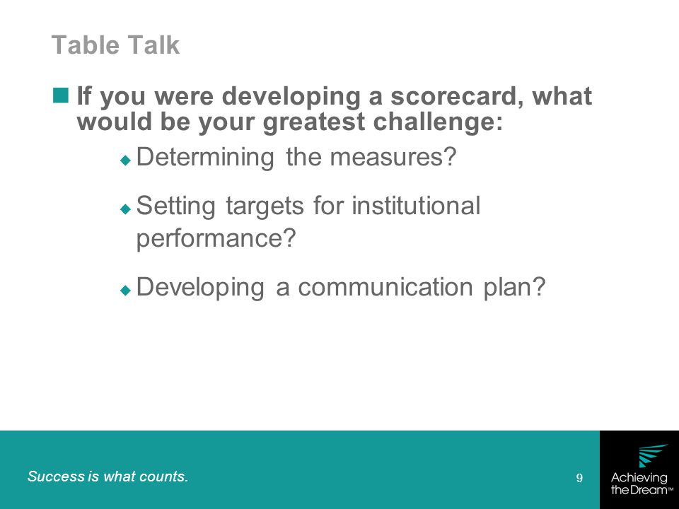 Success is what counts. 9 Table Talk If you were developing a scorecard, what would be your greatest challenge:  Determining the measures?  Setting