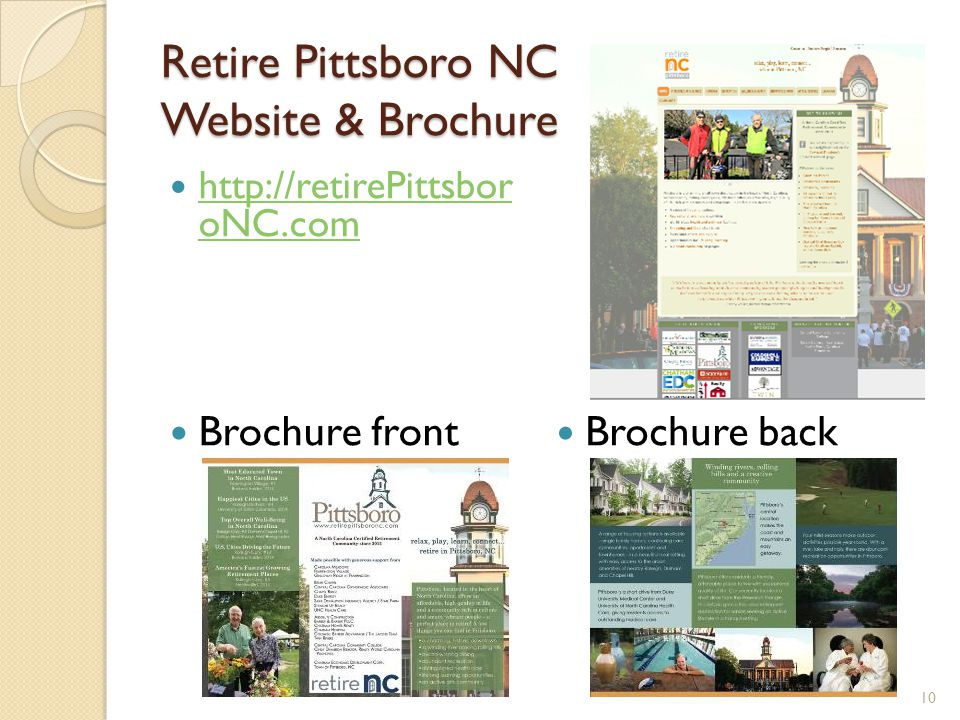 Retire Pittsboro NC Website & Brochure 10 http://retirePittsbor oNC.com http://retirePittsbor oNC.com Brochure front Brochure back