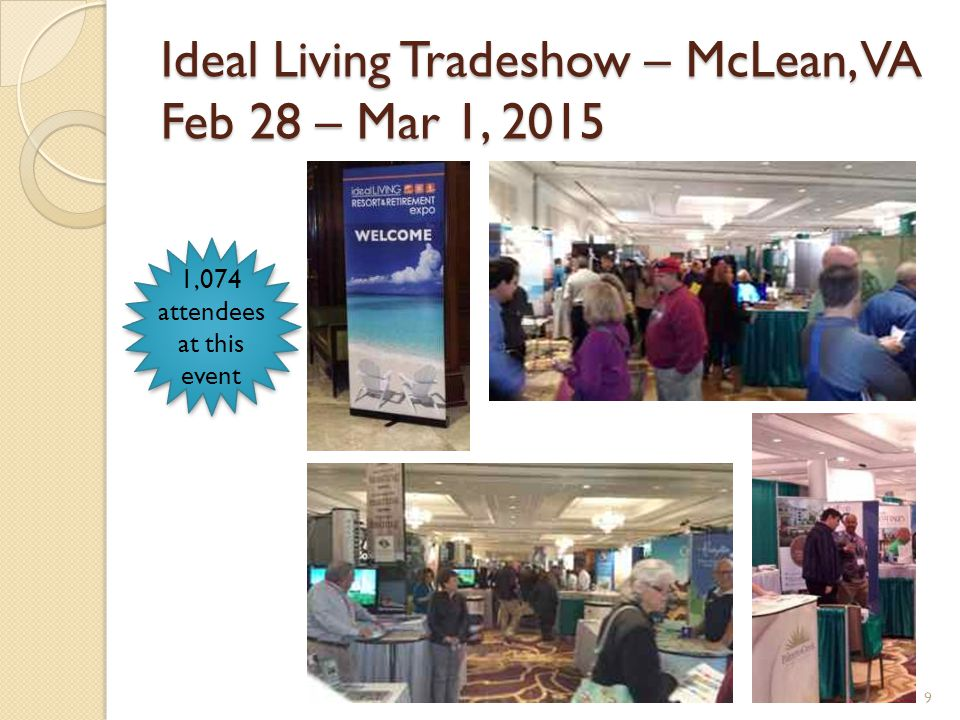 Ideal Living Tradeshow – McLean, VA Feb 28 – Mar 1, 2015 9 1,074 attendees at this event