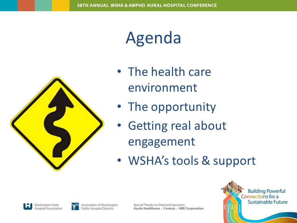 Agenda The health care environment The opportunity Getting real about engagement WSHA's tools & support