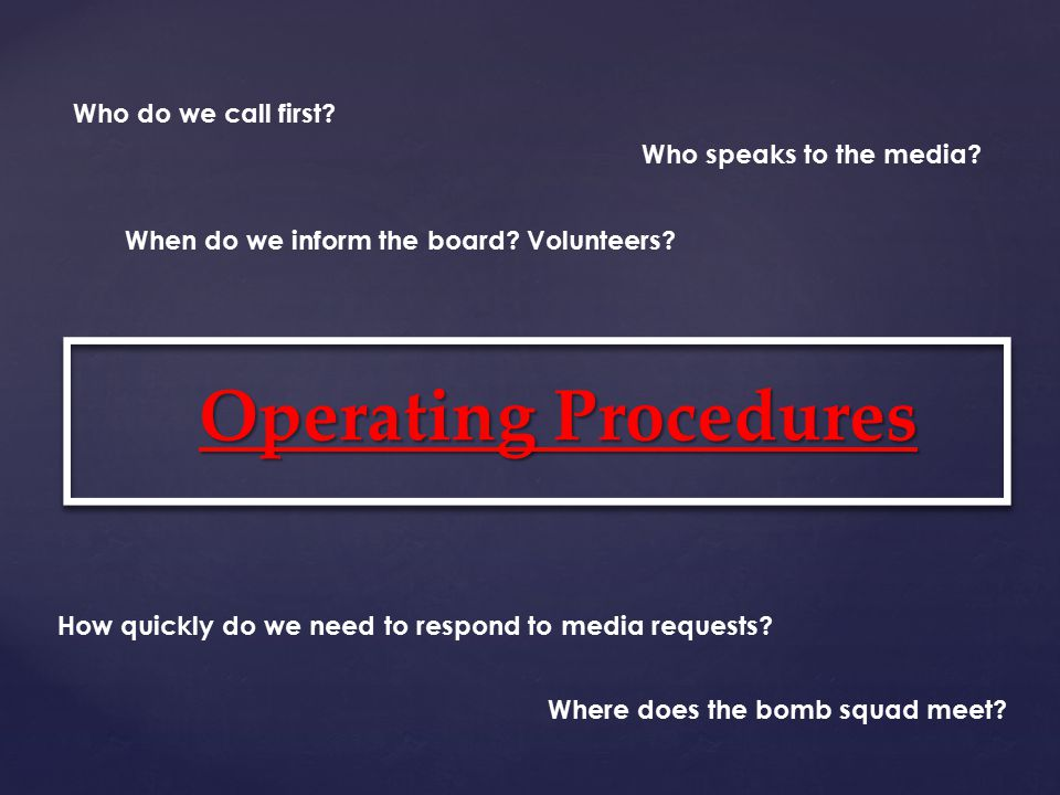 Contact Sheet WHO? Bomb Squad Advisors Staff Board Members WHAT? Phone Email Social