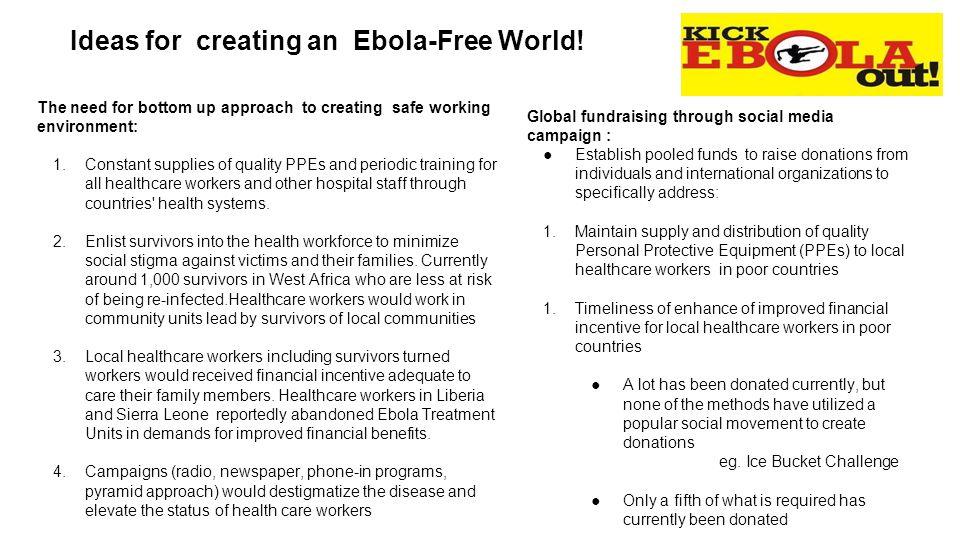 Ideas for creating an Ebola-Free World.